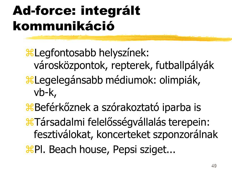 49 Ad-force: integrált kommunikáció zLegfontosabb helyszínek: városközpontok, repterek, futballpályák zLegelegánsabb médiumok: olimpiák, vb-k, zBeférk