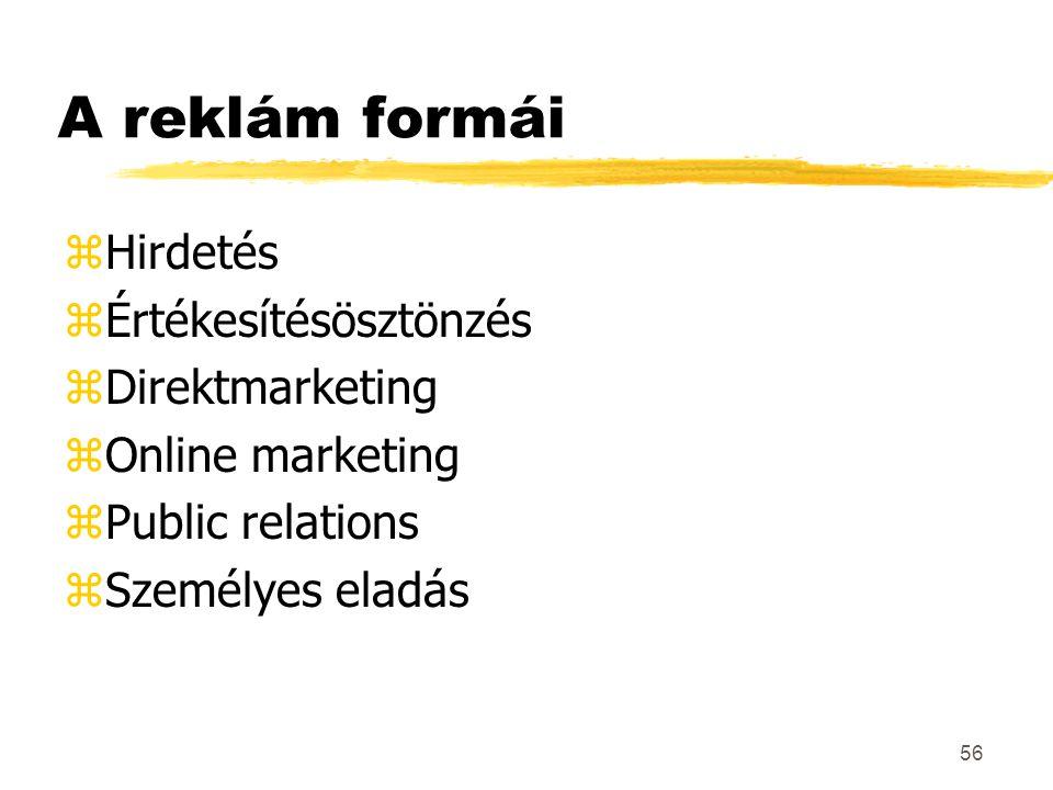 56 A reklám formái zHirdetés zÉrtékesítésösztönzés zDirektmarketing zOnline marketing zPublic relations zSzemélyes eladás