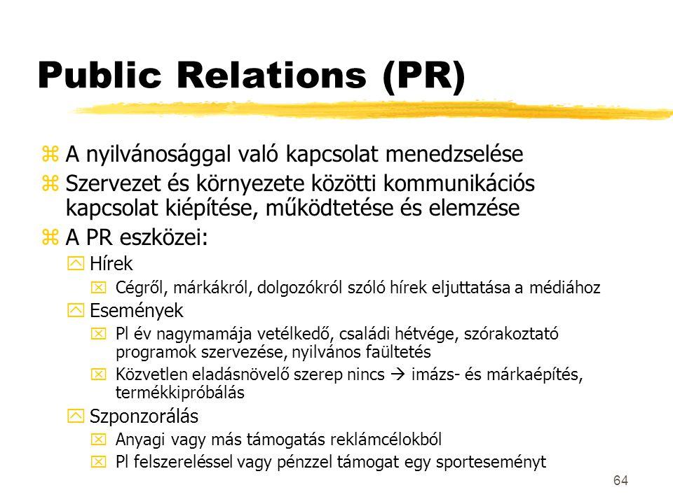 64 Public Relations (PR) zA nyilvánosággal való kapcsolat menedzselése zSzervezet és környezete közötti kommunikációs kapcsolat kiépítése, működtetése