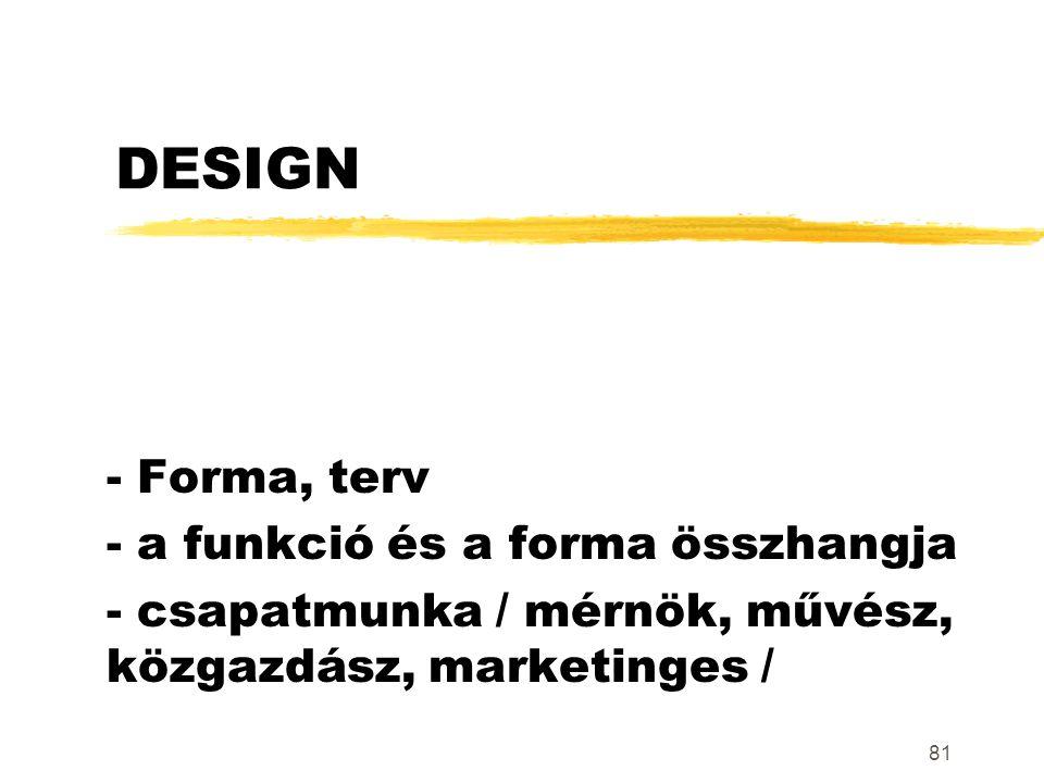 81 DESIGN - Forma, terv - a funkció és a forma összhangja - csapatmunka / mérnök, művész, közgazdász, marketinges /
