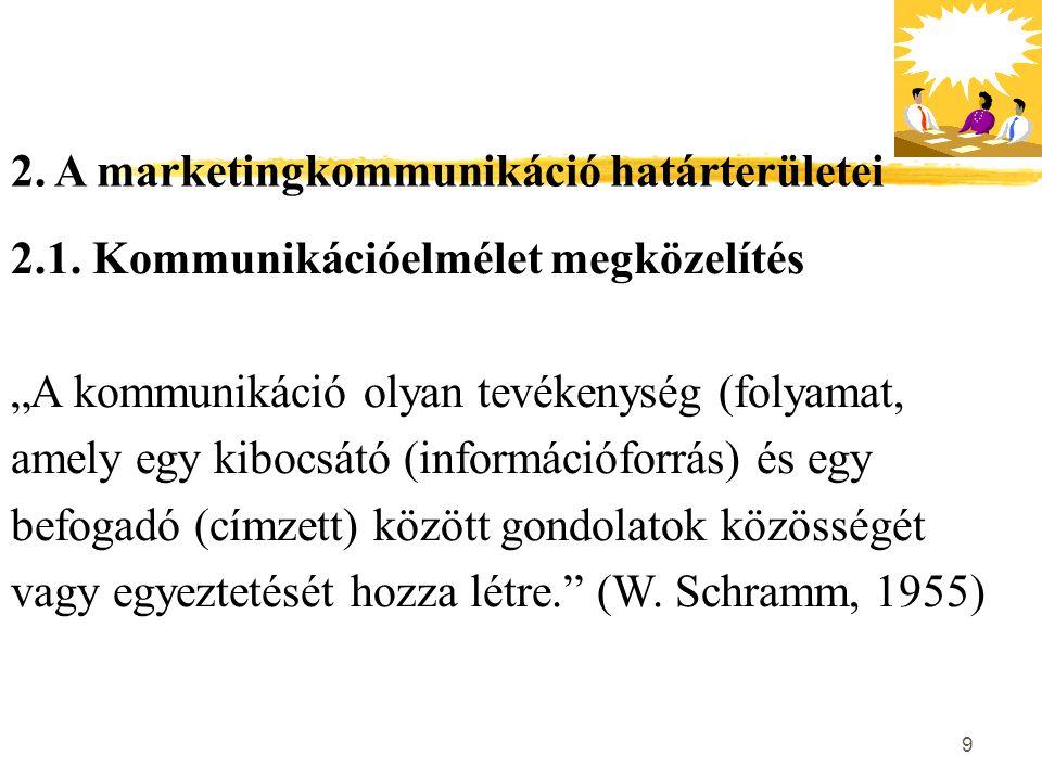 """9 2. A marketingkommunikáció határterületei 2.1. Kommunikációelmélet megközelítés """"A kommunikáció olyan tevékenység (folyamat, amely egy kibocsátó (in"""
