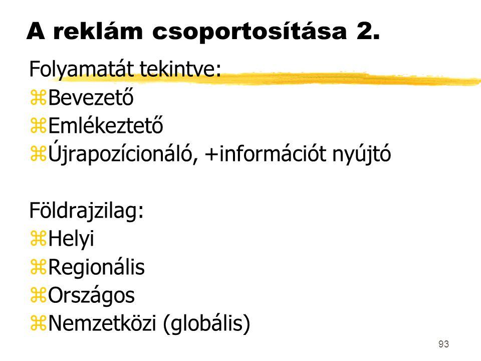 93 Folyamatát tekintve: zBevezető zEmlékeztető zÚjrapozícionáló, +információt nyújtó Földrajzilag: zHelyi zRegionális zOrszágos zNemzetközi (globális)