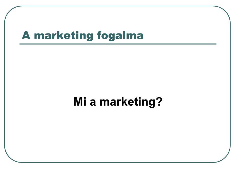 A marketing fogalma Mi a marketing?
