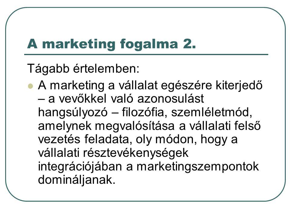 Vállalati piacorientáció A marketingkoncepció A szervezeti célok elérésének kulcsa meg kell határozni a célpiacok szükségleteit és igényeit, ezeket a konkurenciánál hatásosabban és hatékonyabban kell kielégíteni A marketingkoncepció alappillérei piacközpontúság fogyasztóorientáció koordinált marketing nyereségesség