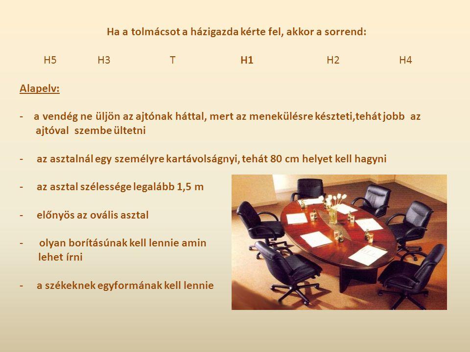 """III.Ültetési rend sajtótájékoztatón,fórumon -lényege, hogy a hallgatóság a beszélőkkel szemben ül,sorokban -A szék ülőlapjának széle és a következő szék hátlapja között legalább 45 cm-nek kell lennie -A sorokat két egyforma,párhuzamos részre kell osztani( 2 """"hasáb ) -Praktikus a felhajtható írótáblás szék -Az elnökségi asztal és az első sor szék között legalább 2,5 m-nek kell lennie -Az elnökségben három maximum öt fő üljön -Középre az ül, aki összehívta a konferenciát,ő vezeti le a fórumot,ő adja meg a szót a kérdezőnek,ő kéri fel válaszadásra az illetékest -H2 V1 H1 V2 H3 ----------------------------------------------------------------- -V9 V7 V5 V4 V6 V8 -Az elnökség nevét ki lehet írni ( külföldi vendég esetén:családnév,vessző,keresztnév, rang ha szükséges) -Névtábláknak egyvonalban kell lenniük -Az elnökségi asztalt elől a földig el kell takarni"""