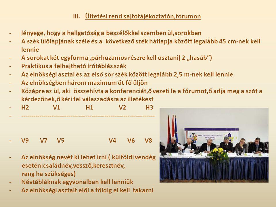 III.Ültetési rend sajtótájékoztatón,fórumon -lényege, hogy a hallgatóság a beszélőkkel szemben ül,sorokban -A szék ülőlapjának széle és a következő sz