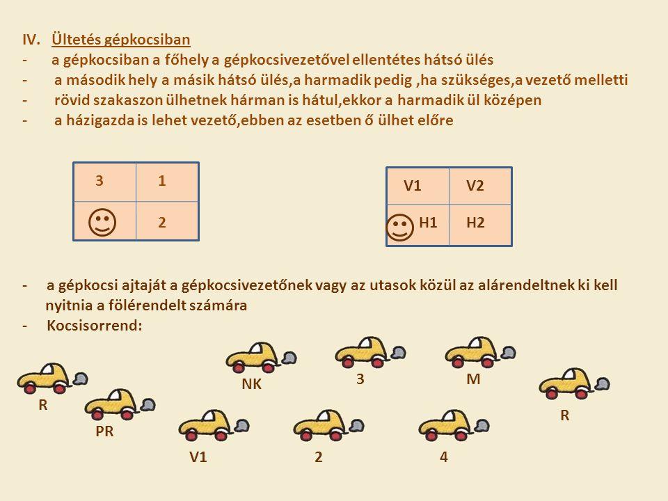 IV.Ültetés gépkocsiban -a gépkocsiban a főhely a gépkocsivezetővel ellentétes hátsó ülés - a második hely a másik hátsó ülés,a harmadik pedig,ha szüks