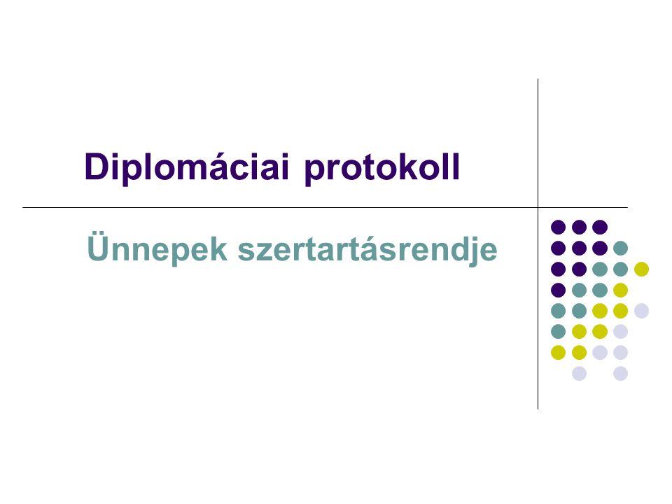 A szertartásrend meghatározása A szertartásrend az egyes ünnepélyes jellegű diplomáciai események, szertartások előzetes, pontos, részletes szabályozása és leírása.