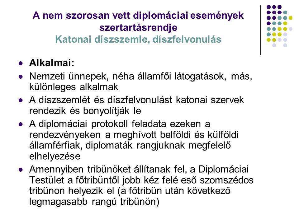 A nem szorosan vett diplomáciai események szertartásrendje Katonai díszszemle, díszfelvonulás Alkalmai: Nemzeti ünnepek, néha államfői látogatások, má