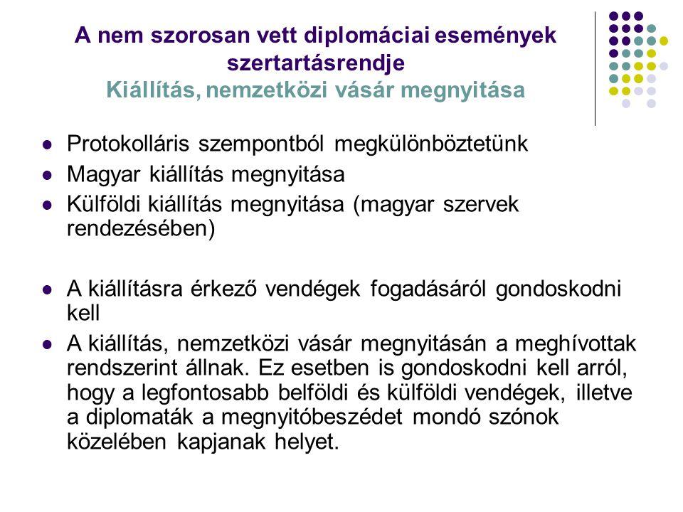 A nem szorosan vett diplomáciai események szertartásrendje Kiállítás, nemzetközi vásár megnyitása Protokolláris szempontból megkülönböztetünk Magyar k