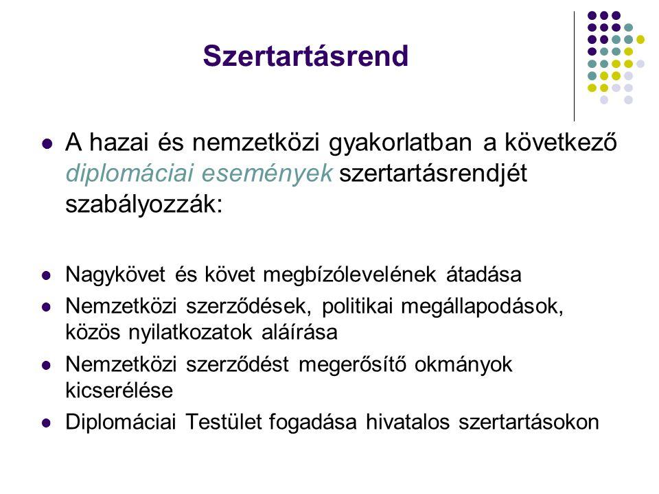 Szertartásrend A hazai és nemzetközi gyakorlatban a következő diplomáciai események szertartásrendjét szabályozzák: Nagykövet és követ megbízóleveléne
