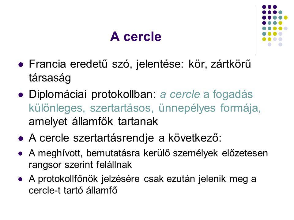 A cercle Francia eredetű szó, jelentése: kör, zártkörű társaság Diplomáciai protokollban: a cercle a fogadás különleges, szertartásos, ünnepélyes form