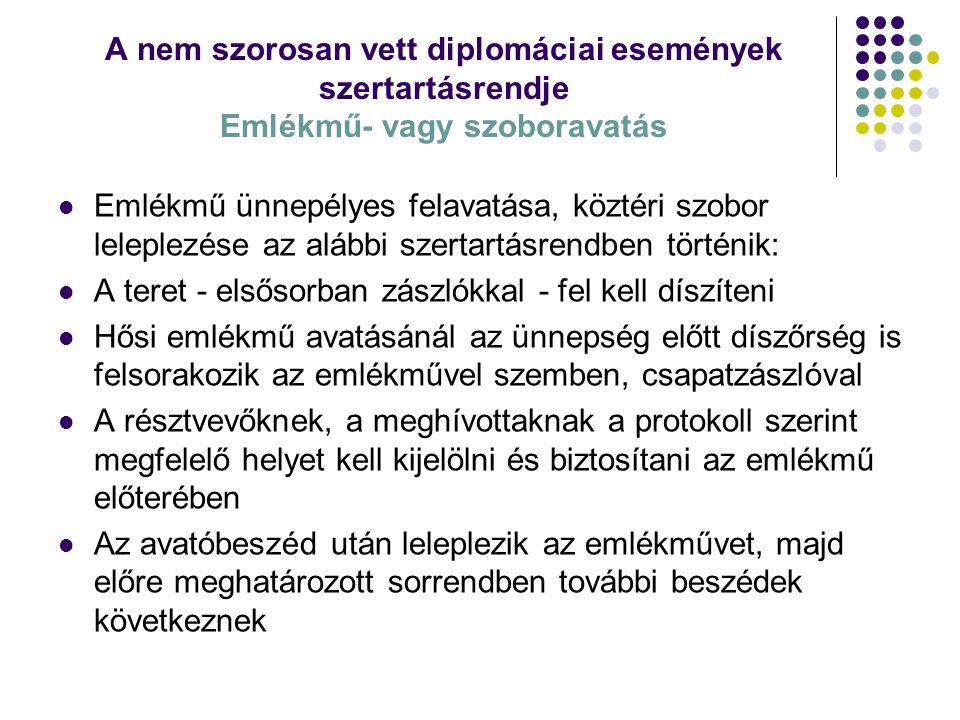A nem szorosan vett diplomáciai események szertartásrendje Emlékmű- vagy szoboravatás A beszédek elhangzása után az illetékes személy az érintettek (pl.
