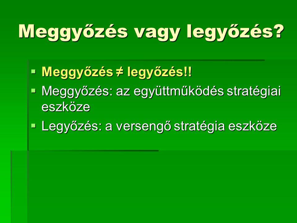 Meggyőzés vagy legyőzés?  Meggyőzés ≠ legyőzés!!  Meggyőzés: az együttműködés stratégiai eszköze  Legyőzés: a versengő stratégia eszköze