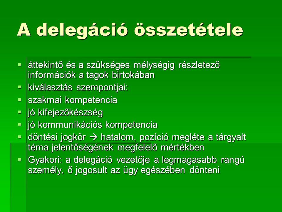 A delegáció összetétele  áttekintő és a szükséges mélységig részletező információk a tagok birtokában  kiválasztás szempontjai:  szakmai kompetenci