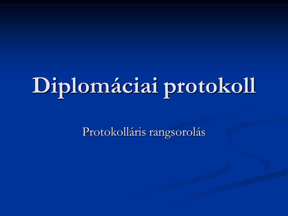 Diplomáciai protokoll Protokolláris rangsorolás