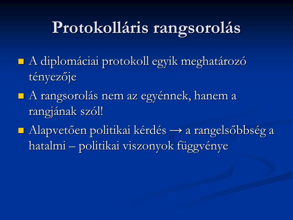 A diplomáciai protokoll egyik meghatározó tényezője A diplomáciai protokoll egyik meghatározó tényezője A rangsorolás nem az egyénnek, hanem a rangjának szól.