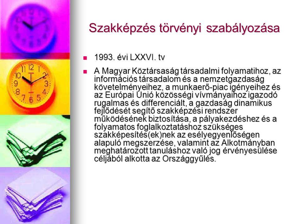 Szakképzés törvényi szabályozása 1993. évi LXXVI.