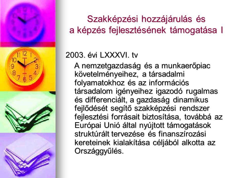 Szakképzési hozzájárulás és a képzés fejlesztésének támogatása I 2003.