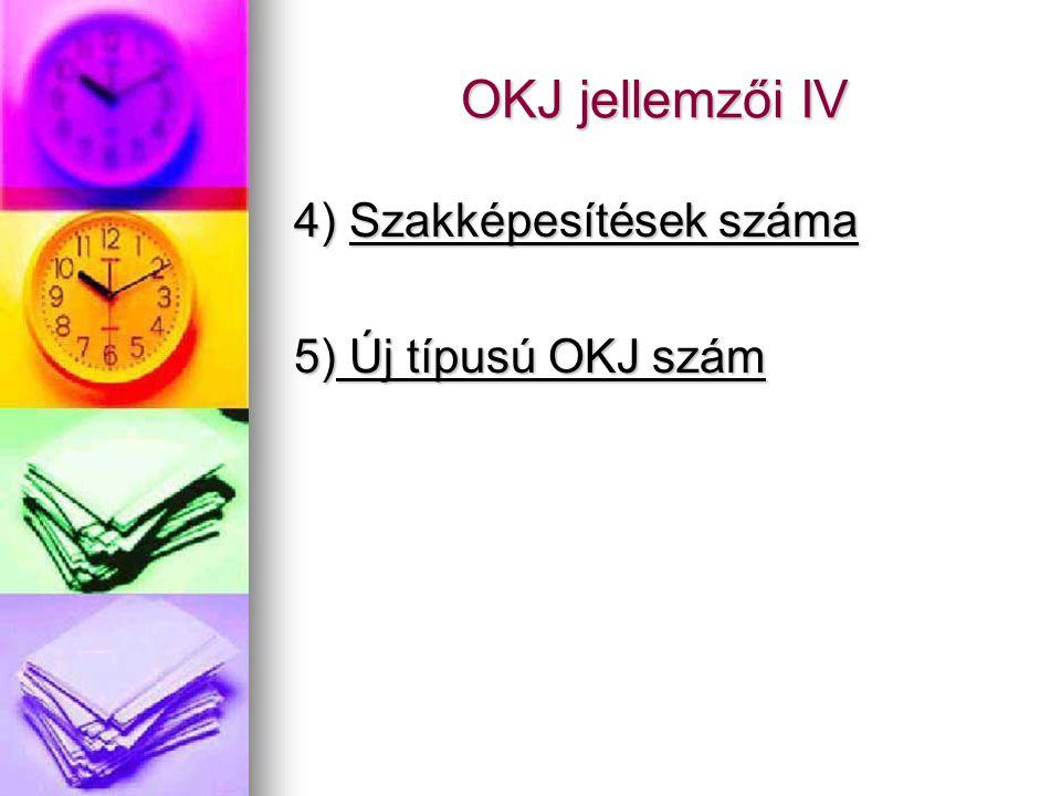 OKJ jellemzői IV 4) Szakképesítések száma 5) Új típusú OKJ szám