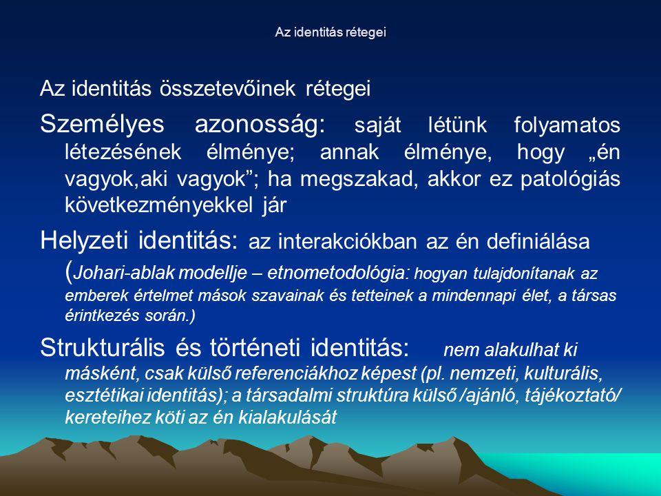 """Az identitás rétegei Az identitás összetevőinek rétegei Személyes azonosság: saját létünk folyamatos létezésének élménye; annak élménye, hogy """"én vagy"""