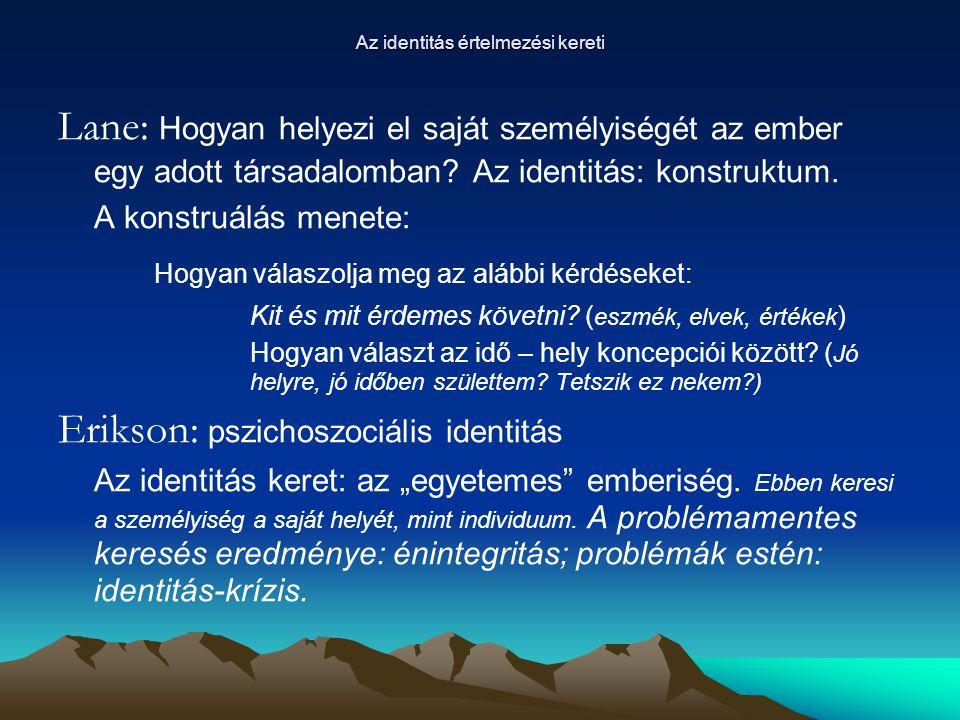 Társadalmi identitás – Nemzeti identitás Társadalmi identitás: A ki vagyok én.