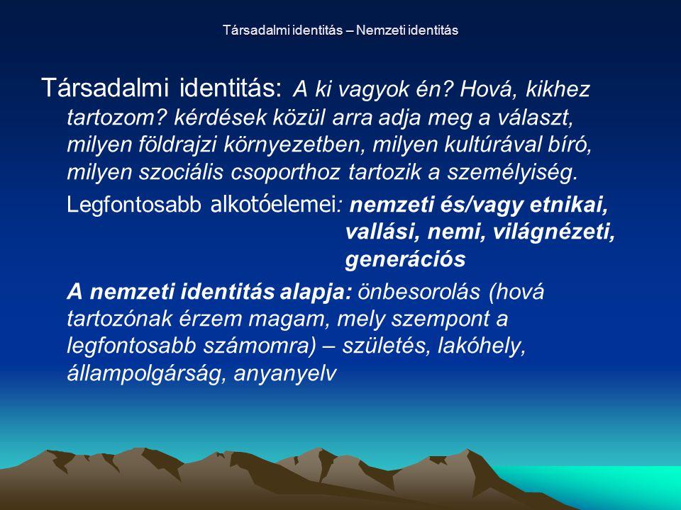 Társadalmi identitás – Nemzeti identitás Társadalmi identitás: A ki vagyok én? Hová, kikhez tartozom? kérdések közül arra adja meg a választ, milyen f