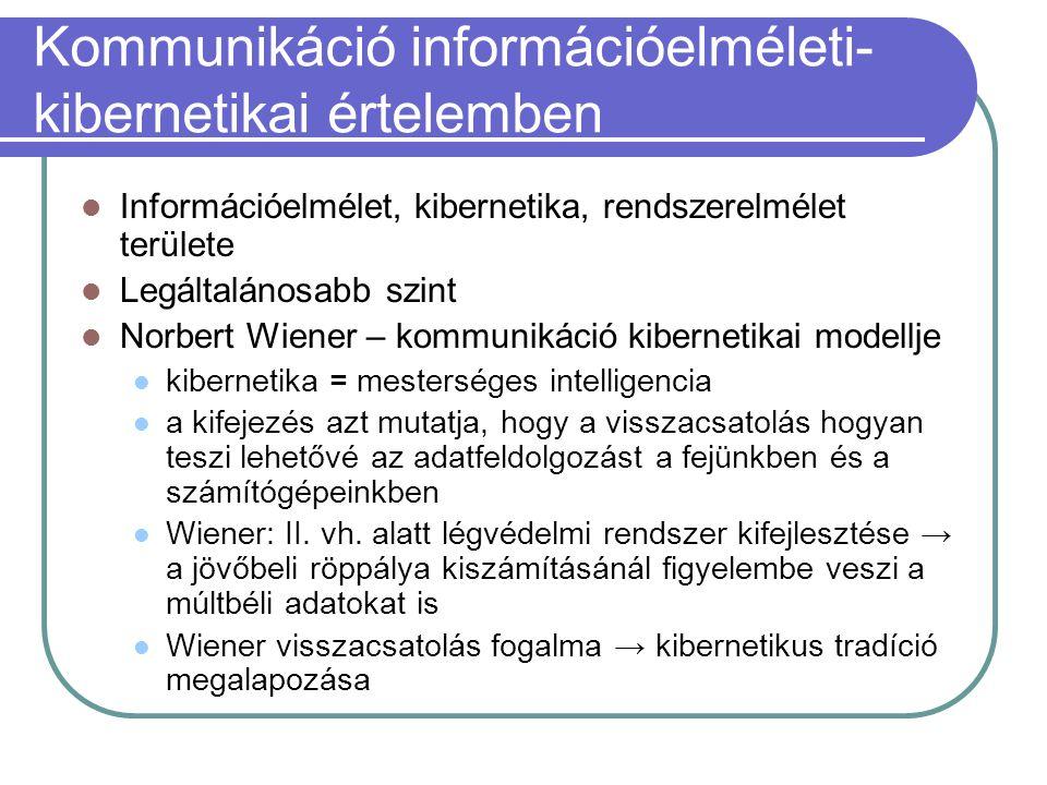 Kommunikáció információelméleti- kibernetikai értelemben Információelmélet, kibernetika, rendszerelmélet területe Legáltalánosabb szint Norbert Wiener – kommunikáció kibernetikai modellje kibernetika = mesterséges intelligencia a kifejezés azt mutatja, hogy a visszacsatolás hogyan teszi lehetővé az adatfeldolgozást a fejünkben és a számítógépeinkben Wiener: II.