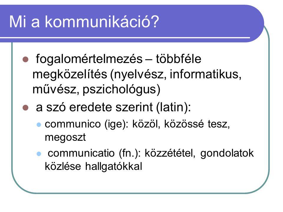 Az emberi kommunikáció csoportosítása IV.