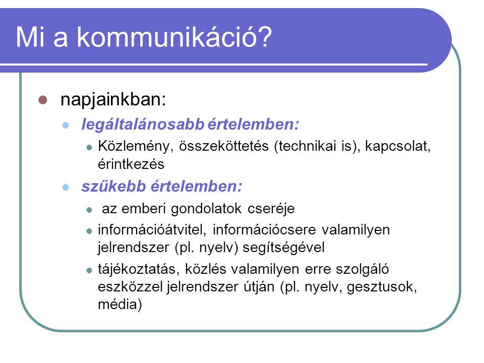 Az emberi kommunikáció csoportosítása VI.A kommunikáció iránya szerint: 1.