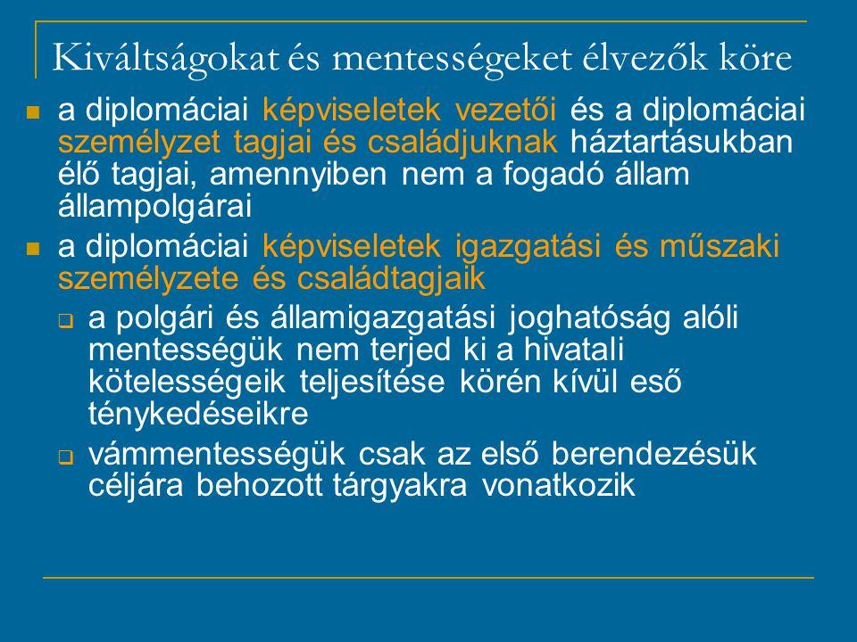 Kiváltságokat és mentességeket élvezők köre a diplomáciai képviseletek vezetői és a diplomáciai személyzet tagjai és családjuknak háztartásukban élő tagjai, amennyiben nem a fogadó állam állampolgárai a diplomáciai képviseletek igazgatási és műszaki személyzete és családtagjaik  a polgári és államigazgatási joghatóság alóli mentességük nem terjed ki a hivatali kötelességeik teljesítése körén kívül eső ténykedéseikre  vámmentességük csak az első berendezésük céljára behozott tárgyakra vonatkozik