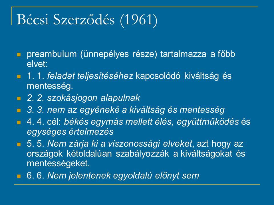 Bécsi Szerződés (1961) preambulum (ünnepélyes része) tartalmazza a főbb elvet: 1.