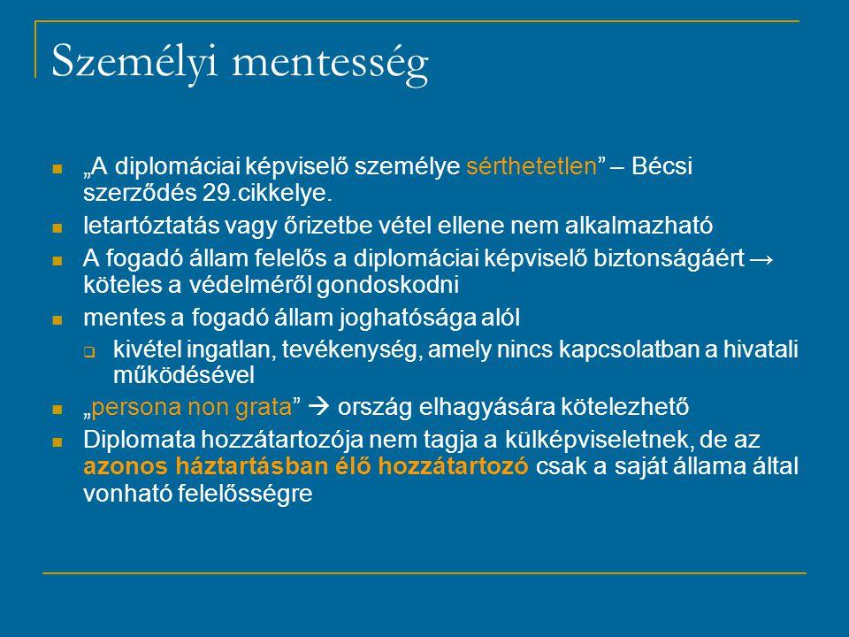 """Személyi mentesség """"A diplomáciai képviselő személye sérthetetlen – Bécsi szerződés 29.cikkelye."""