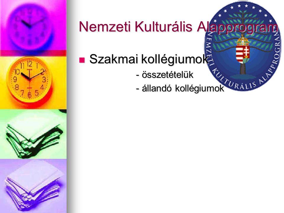Nemzeti Kulturális Alapprogram Szakmai kollégiumok - összetételük - állandó kollégiumok