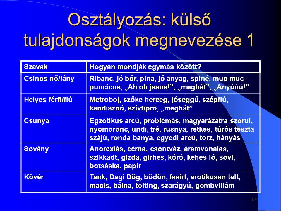 14 Osztályozás: külső tulajdonságok megnevezése 1 SzavakHogyan mondják egymás között.