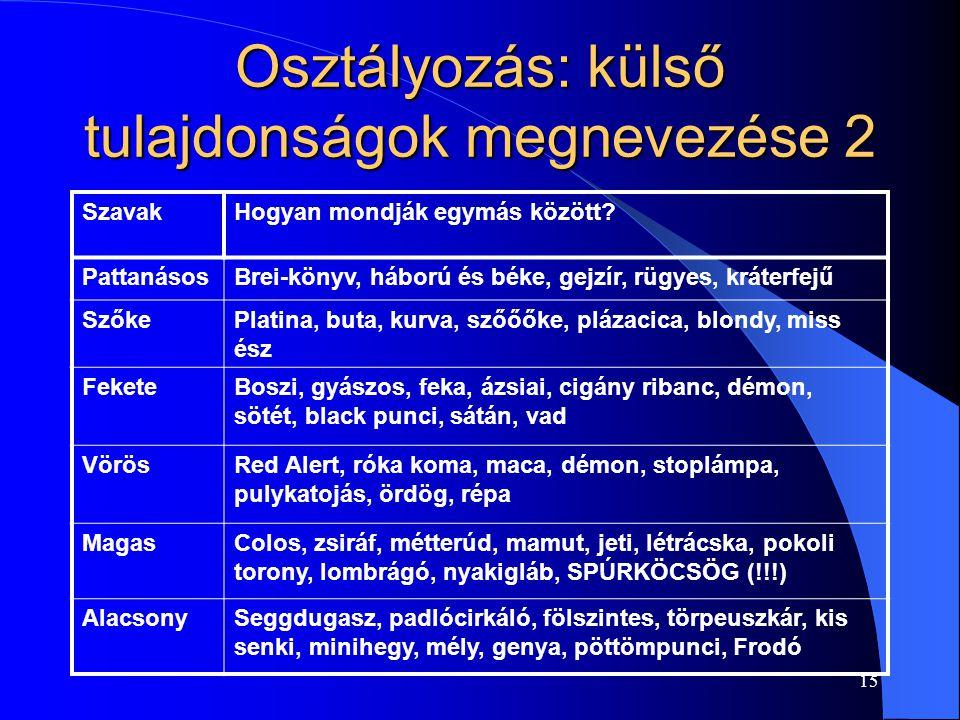 15 Osztályozás: külső tulajdonságok megnevezése 2 SzavakHogyan mondják egymás között.
