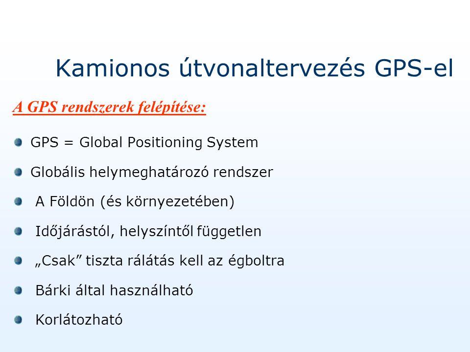"""Kamionos útvonaltervezés GPS-el GPS = Global Positioning System Globális helymeghatározó rendszer A Földön (és környezetében) Időjárástól, helyszíntől független """"Csak tiszta rálátás kell az égboltra Bárki által használható Korlátozható A GPS rendszerek felépítése:"""