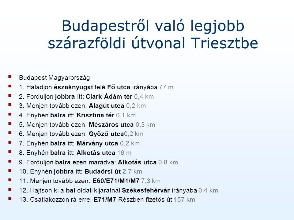 Budapestről való legjobb szárazföldi útvonal Triesztbe Budapest Magyarország 1.