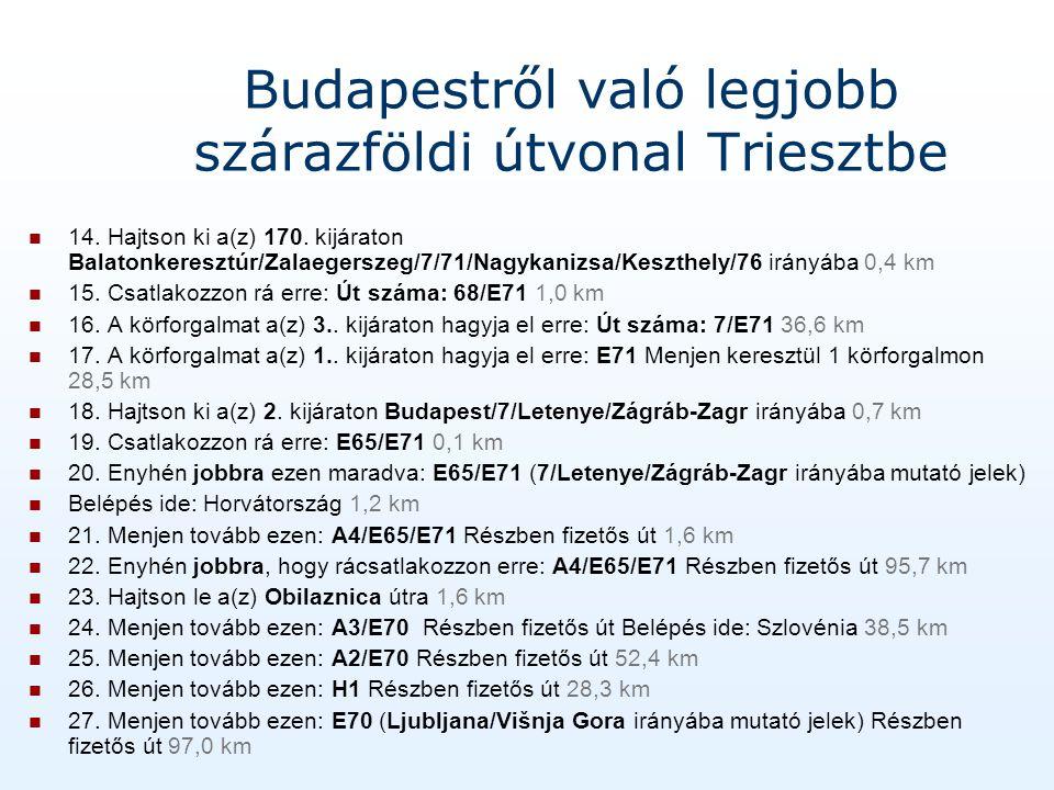 Budapestről való legjobb szárazföldi útvonal Triesztbe 14.