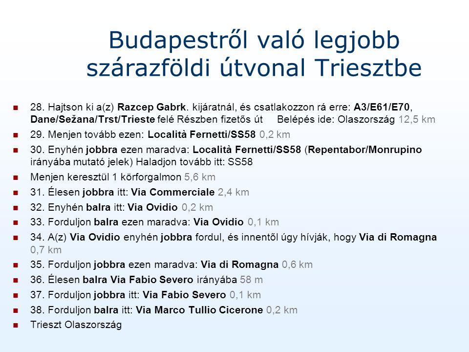 Budapestről való legjobb szárazföldi útvonal Triesztbe 28.