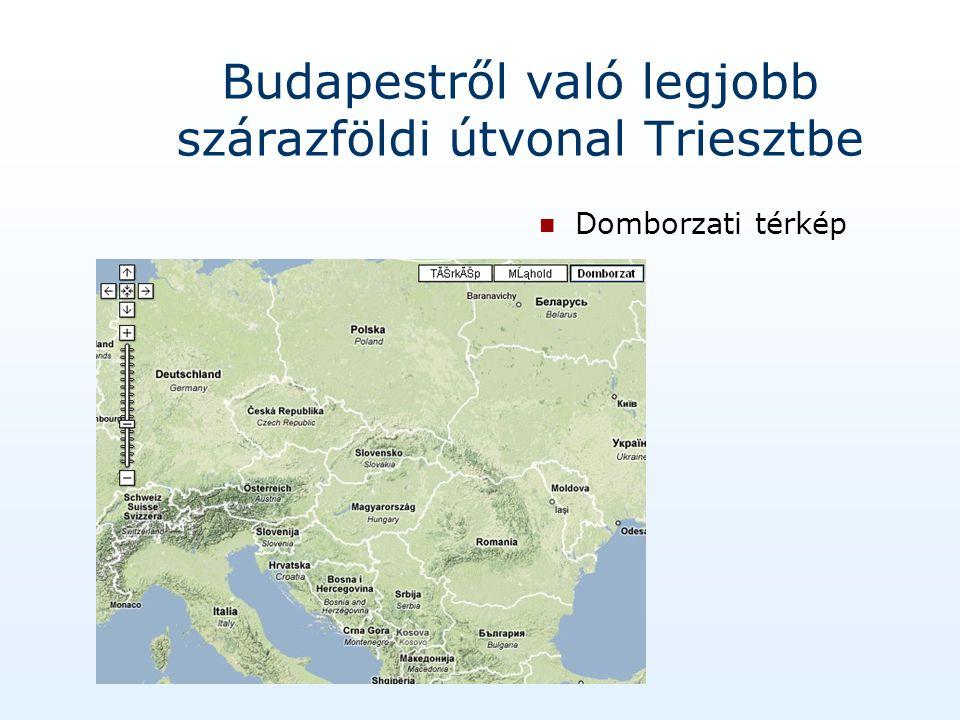 Budapestről való legjobb szárazföldi útvonal Triesztbe Domborzati térkép