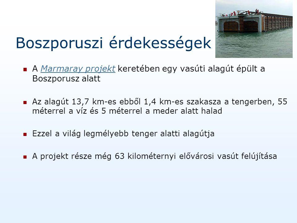 Boszporuszi érdekességek A Marmaray projekt keretében egy vasúti alagút épült a Boszporusz alattMarmaray projekt Az alagút 13,7 km-es ebből 1,4 km-es szakasza a tengerben, 55 méterrel a víz és 5 méterrel a meder alatt halad Ezzel a világ legmélyebb tenger alatti alagútja A projekt része még 63 kilométernyi elővárosi vasút felújítása