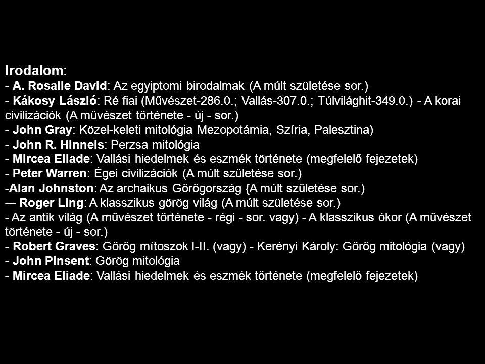 Irodalom: - A. Rosalie David: Az egyiptomi birodalmak (A múlt születése sor.) - Kákosy László: Ré fiai (Művészet-286.0.; Vallás-307.0.; Túlvilághit-34