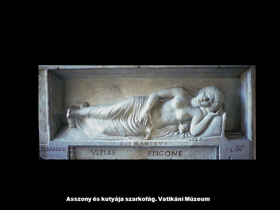 Asszony és kutyája szarkofág. Vatikáni Múzeum