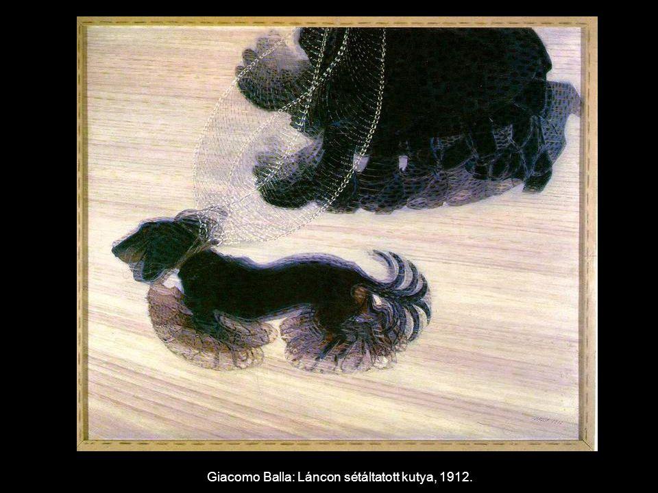 Giacomo Balla: Láncon sétáltatott kutya, 1912.