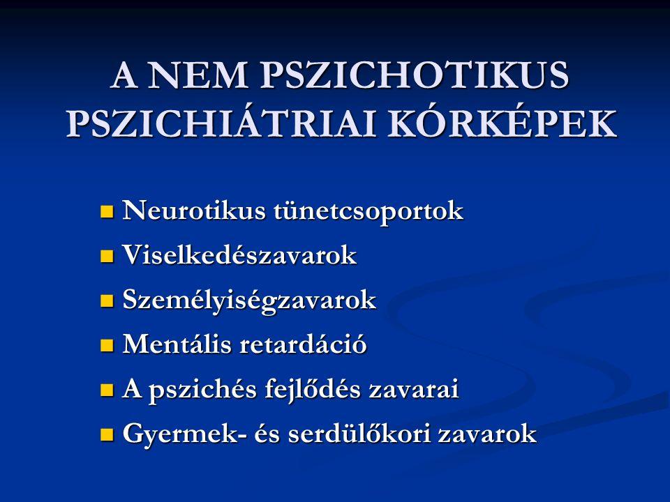 A NEM PSZICHOTIKUS PSZICHIÁTRIAI KÓRKÉPEK Neurotikus tünetcsoportok Neurotikus tünetcsoportok Viselkedészavarok Viselkedészavarok Személyiségzavarok S