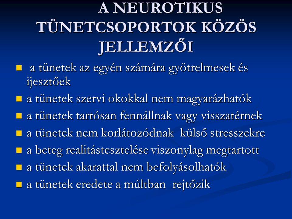 A SZORONGÁSOS TÜNETCSOPORTOK KÖZÖS JELLEMZŐI A tünetek az egyén számára ijesztőek, gyötrelmesek A tünetek az egyén számára ijesztőek, gyötrelmesek A tünetek szervi okokkal nem magyarázhatók A tünetek szervi okokkal nem magyarázhatók A tünetek tartósan fennállnak vagy visszatérnek A tünetek tartósan fennállnak vagy visszatérnek A tünetek nem korlátozódnak külső stresszekre A tünetek nem korlátozódnak külső stresszekre A beteg realitás-tesztelése viszonylag megtartott A beteg realitás-tesztelése viszonylag megtartott A tünetek akarattal nem befolyásolhatók A tünetek akarattal nem befolyásolhatók A tünetcsoport eredete a múltban rejtőzik A tünetcsoport eredete a múltban rejtőzik