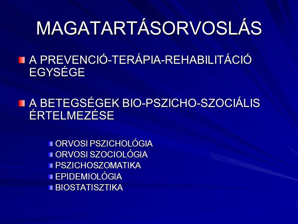 MAGATARTÁSORVOSLÁS A PREVENCIÓ-TERÁPIA-REHABILITÁCIÓ EGYSÉGE A BETEGSÉGEK BIO-PSZICHO-SZOCIÁLIS ÉRTELMEZÉSE ORVOSI PSZICHOLÓGIA ORVOSI SZOCIOLÓGIA PSZICHOSZOMATIKAEPIDEMIOLÓGIABIOSTATISZTIKA