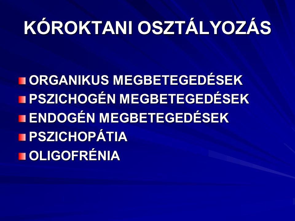 DIAGNOSZTIKAI ÉS STATISZTIKAI OSZTÁLYOZÁS I.TENGELY: TÜNETCSOPORTOK II.