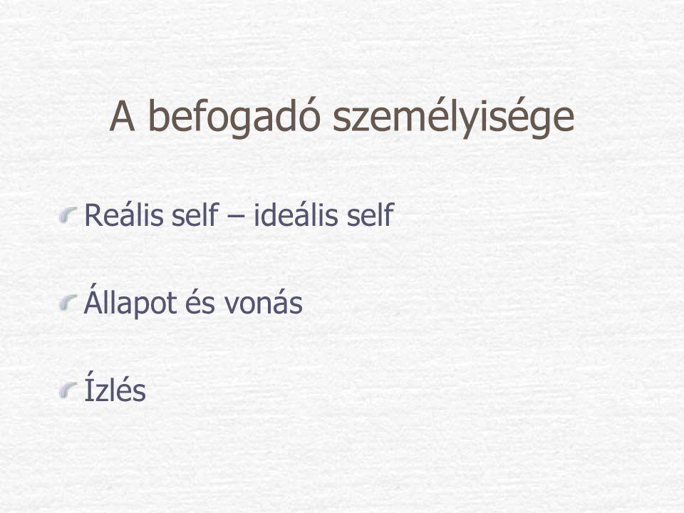 A befogadó személyisége Reális self – ideális self Állapot és vonás Ízlés